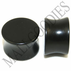0463-Acrylic-Black-Double-Flare-Saddle-Ear-Plugs-5-8-034-Inch-16mm-PAIR-MallGoodies