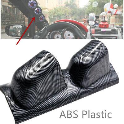 """2/"""" Dual Gauge Cover Mount Holder Carbon Fiber Look ABS For Car SUV Left Side"""
