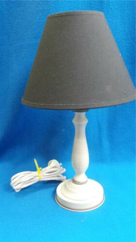 SMALL WHITE TABLE LAMP WITH BLACK SHADE ELECTRIC