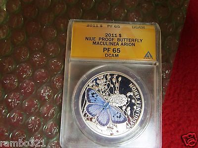 Niue 2011 $1 Blue Maculinea Arion Butterfly .925 ANACS PCGS NGC Silver Coin