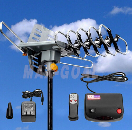 150 Miles HDTV Outdoor Amplified Antenna HD TV 36dB Rotor Remote 360° UHF//VHF//FM