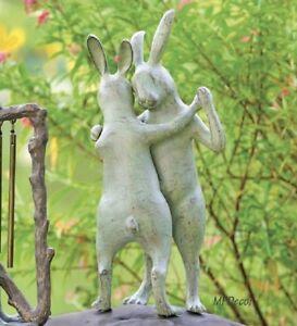 Image Is Loading Bunnies First Dance Rabbit Couple Garden Sculpture Metal