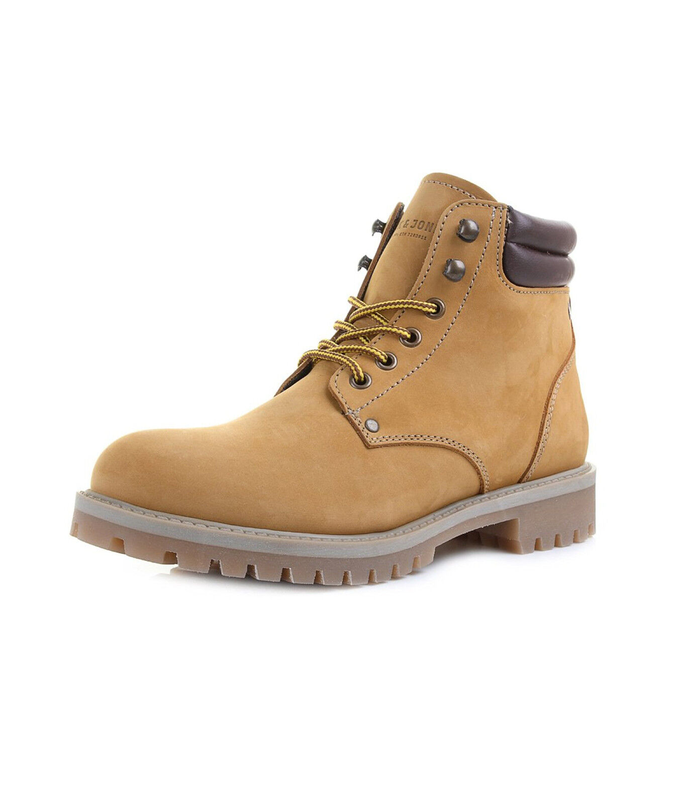 JACK & JONES Nubuck Stoke Leder Stiefel High Top Schuhes Honey Beige Biker Boot