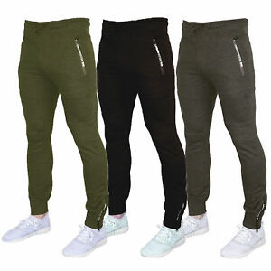Mens-Bottoms-Crosshatch-Jogging-Pants-Cuffed-Trousers-Running-Gym-Warm-Fashion
