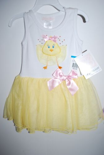 NEW NWT BONNIE BABY EASTER SPRING DRESS yellow white pink 3 6 9 12 18 24m 2T 3T