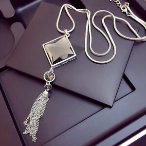 Women-Silver-Rhinestone-Big-Long-Sweater-Square-Crystal-Tassel-Pendant-Necklace