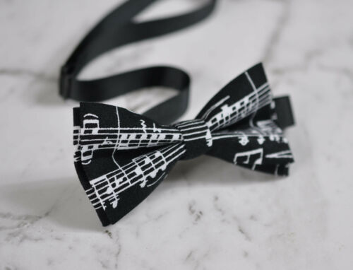 Father Son Match Cotton Black White Sheet Music Notes Pattern Bow Tie Bowtie