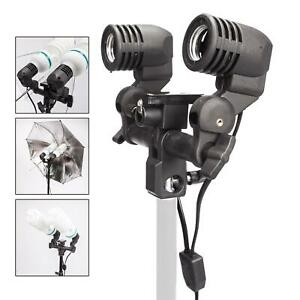 Dual-Light-Bulb-Holder-E27-Lamp-Flash-Photo-Studio-Umbrella-Mount-Socket-Bracket