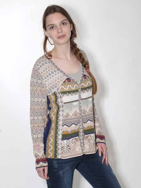 10% Cardigan V. IVKO Size 40 44, 2017 Wool White Sand Embroidery Cotton