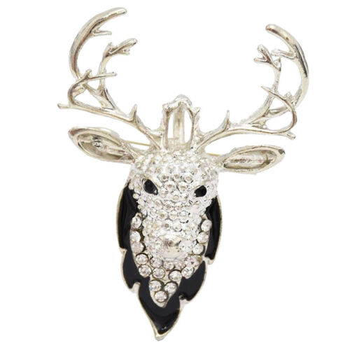 Crystal Pendant Brooch Deer Rhinestone Brooch Fashion Necklace Silver//Gold