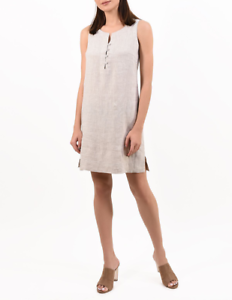 Linen Dress 100% Natural Pure Flax Mini  Sleeveless Buttons Handmade