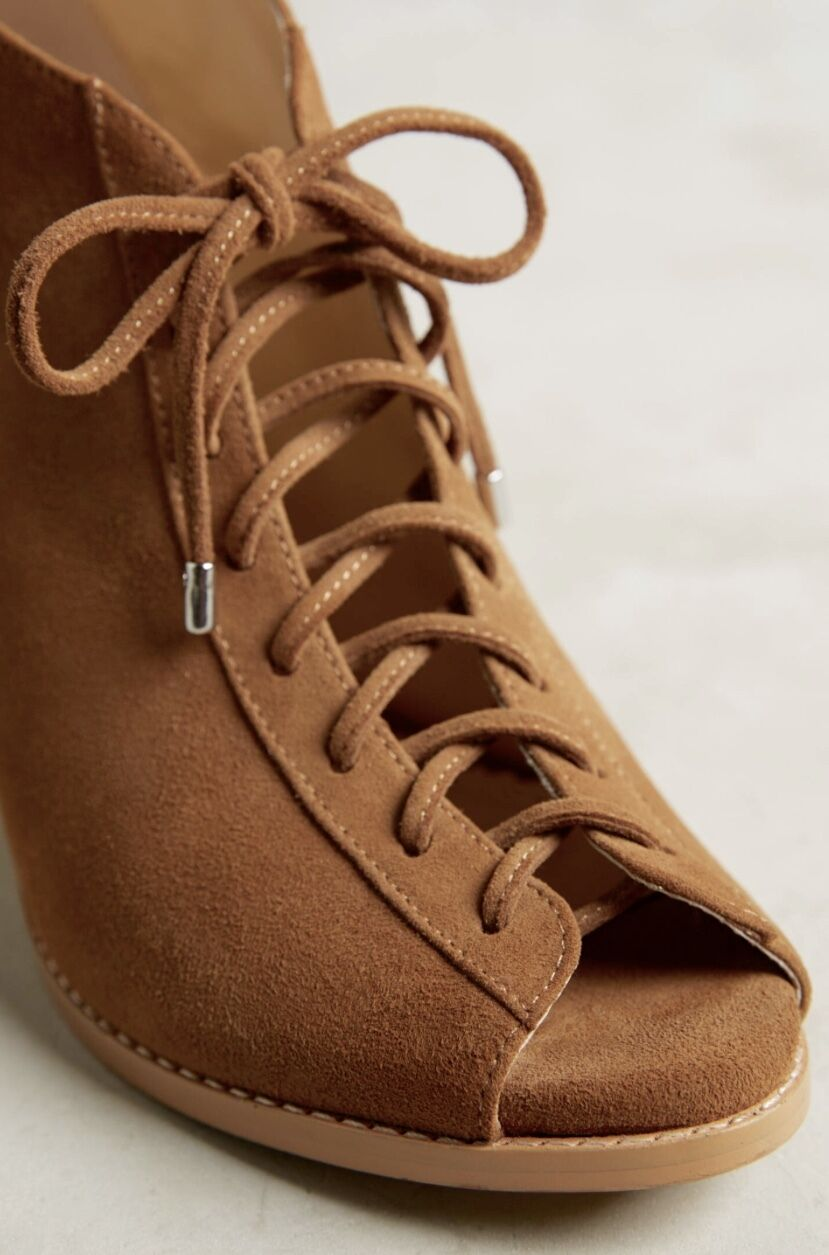 NEW Anthropologie Farylrobin camel tan Suede Bootie Open Toe Lace Up Bootie Suede Schuhes 7.5 9af929