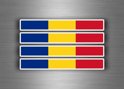 4x Autocollant sticker voiture moto stripes drapeau tuning  roumanie