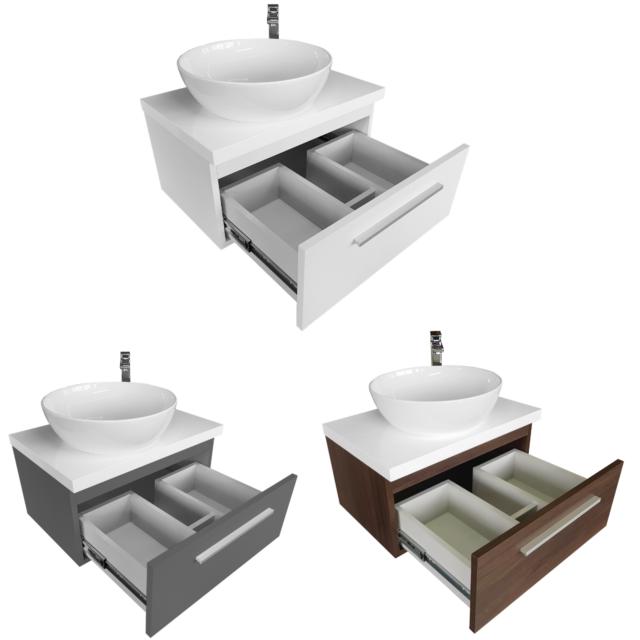 Aufsatzwaschbecken mit Waschtischunterschrank mit Platte 50 60 80 Oval Keramik
