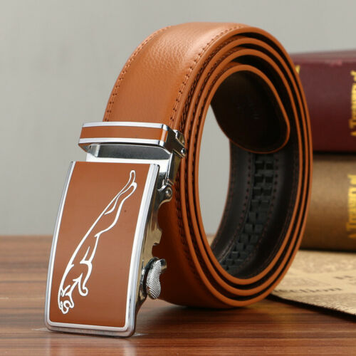 Luxury Fashion Mens Leather Belts Rachet Waistband Strap Automatic Buckle Casual