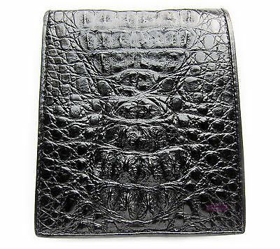BLACK CROCODILE ALLIGATOR HORNBACK SKIN LEATHER MEN'S BIFOLD WALLET