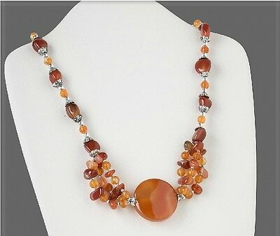 "Agate Necklace Red Orange Gemstone Beads Pendant 27/"" Fashion Jewelry"