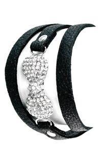 Black-Silver-Crystal-Ribbon-Faux-Leather-Vegan-Wrap-Bracelet