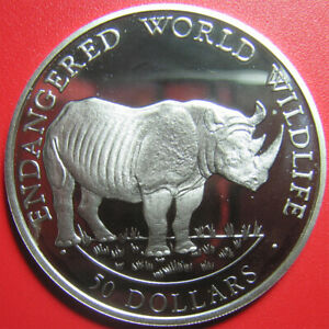 1990-COOK-ISLANDS-50-SILVER-PROOF-BLACK-RHINOCEROS-RHINO-ENDANGERED-WILDLIFE