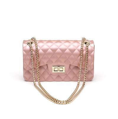 2ab1c79e02 Borsa donna pochette catena con tracolla rosa cipria pelle sintetica 2168 |  eBay