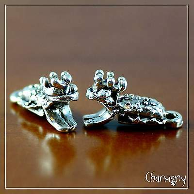 Frog Prince charms ~2pc~ antique silver fairy tale princess bead pendant toad