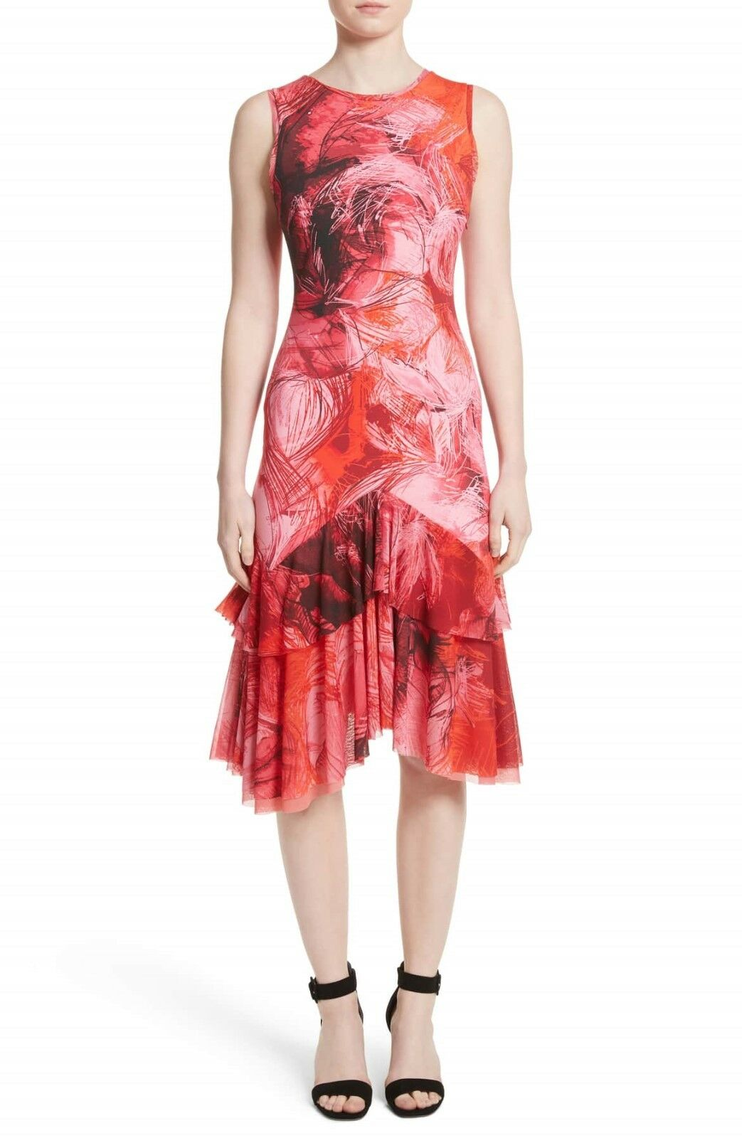 NEW Fuzzi Print Tulle Ruffle Hem Dress in Rosa Multi - Größe M
