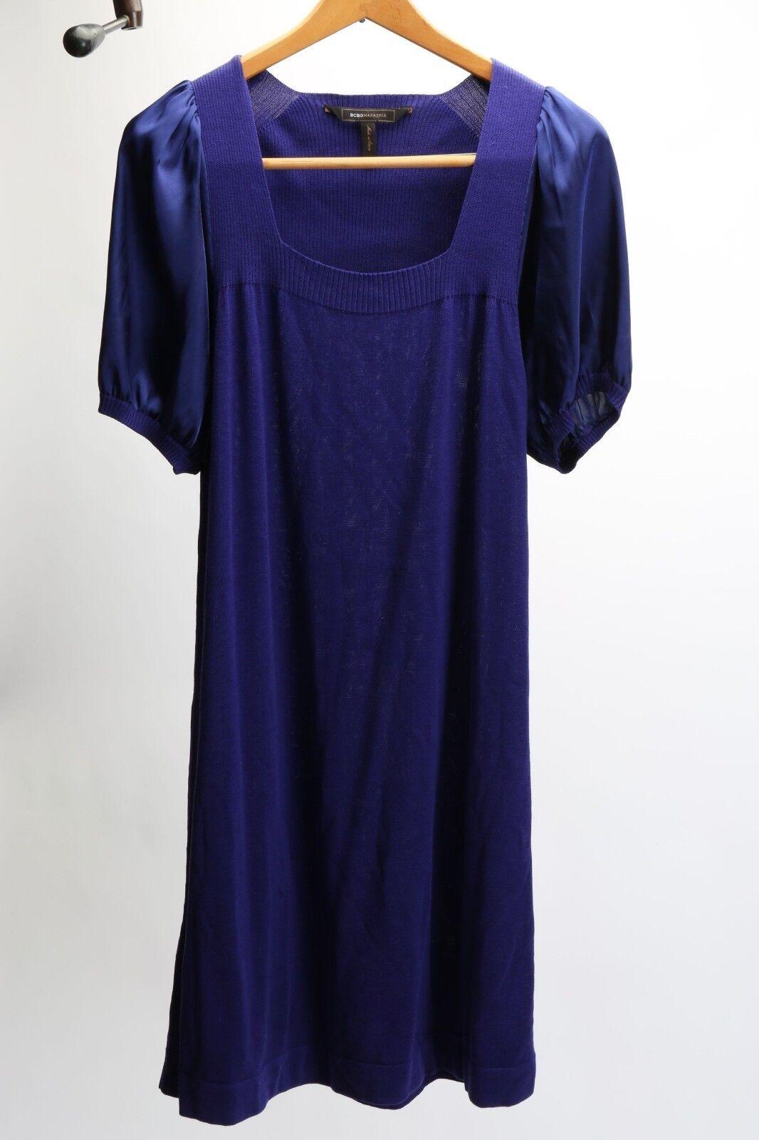 BCBG Max Azria - Royal Purple L Silk Cotton Short Sleeve Dress   totokaelo