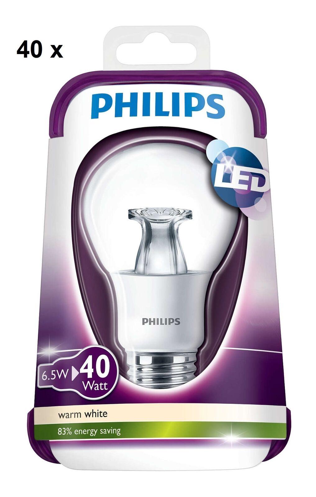 40x Philips LED 40W House Clear Bulb Lamp E27 Lumen 2700K 6.5 W Warm Weiß 470lm