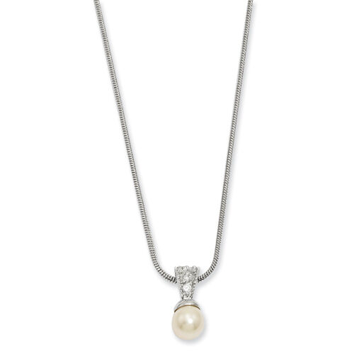 """Kelly Waters Rhodium Plated White Glass Pearl CZ Necklace 18/"""""""
