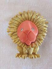 Vintage BOUCHER Faux Coral & Rhinestone Lion Brooch Pin Exquisite Estate