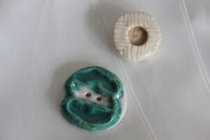Knöpfe Honig 2 Boutons Antike Keramik Designer Darsteller Keramik Anstecker Era Reihe Vautrin