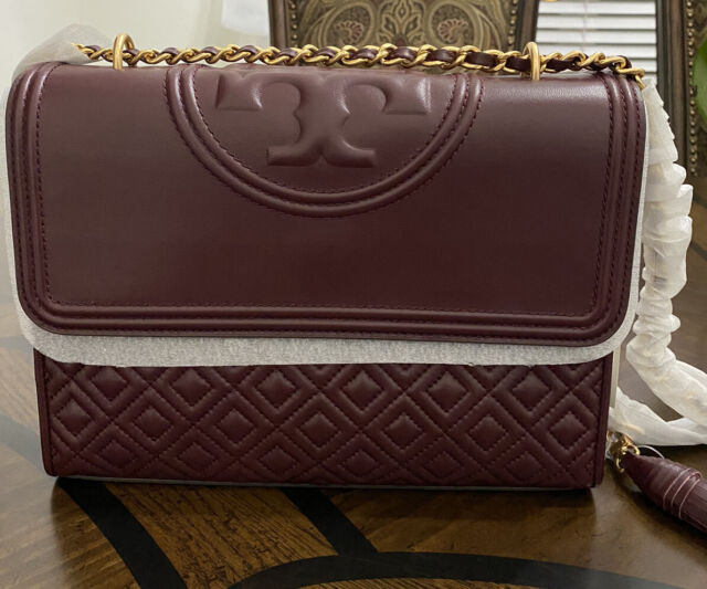 NWT $498 Tory Burch Fleming Quilted Convertible Leather Shoulder CrossBody Bag S