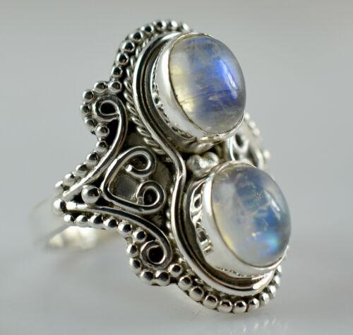 US-RBM-045 Rainbow Moonstone Ring 925 Solid Sterling Silver Handmade Jewelry