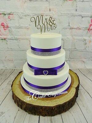Satin Bow /& Diamante Buckle Ribbon Cake Decoration Wedding Blue,Lilac,Lavender