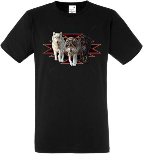 T Shirt in schwarz mit einem Tier-//Naturmotiv  Modell Indian Wolves