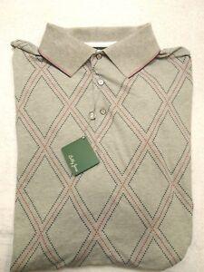 Bobby-Jones-Cotton-Blend-Gray-Diamond-Pattern-Polo-Golf-Shirt-NWT-XXL-98