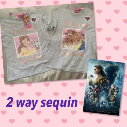 12-13 Primark Beauty And The Beast 2Way Brush Reverse Sequin T-shirt Top