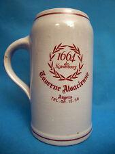 Grande chope a bière en grès émaillé 1 litre 1664 Taverne alsacienne Angers
