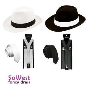 rechercher le dernier prix incroyables garantie de haute qualité Détails sur Homme Gangster Mafia Pimp adulte robe fantaisie Cravate Chapeau  Bretelles années 1920 Outfit- afficher le titre d'origine