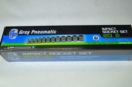 "12 Piece 3//8/"" Drive  6 Point SAE Impact Socket Set 5//16/"" to 1/""  Grey GP1213"