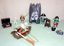 Playmobil LOT Pirate Ghost Crew Skeleton Skull Cave 5 Pirates Cannon Chest Boat