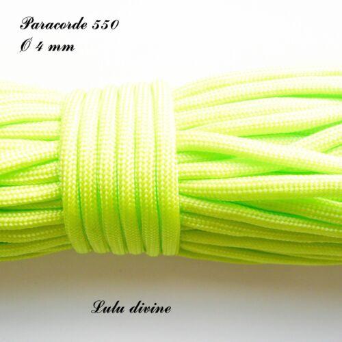 Cordon Vert fluo vendu au mètre Paracorde 550 de 4 mm