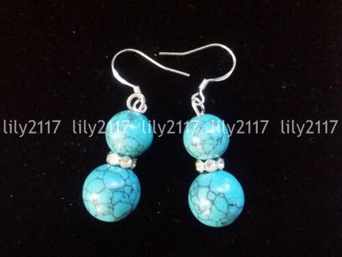 8-10 mm naturel bleu turquoise ronde gemme plaqué argent Dangle Crochet Boucles D/'oreilles