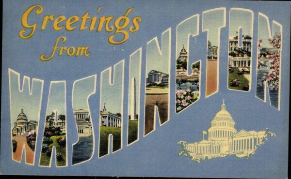 Original Postkarte Ansichtskarte Ak Farbig Ungelaufen Greetings From Washington Karte Usa Halten Sie Die Ganze Zeit Fit