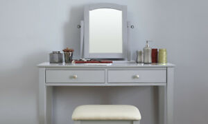 Grey Dressing Table Set with Stool and Adjustable Mirror Bedroom ...
