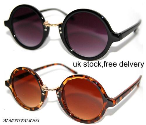80s Retro round fashion Hippy Hipster sunglasses vintage tortoise Black UK Stock