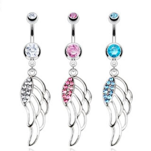 Surgical Steel Belly Bar Navel Ring With Multi Paved CZ Hollow Angel Wing