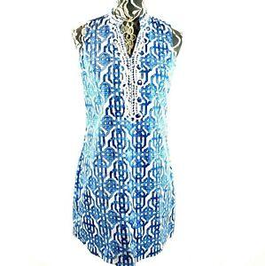 Mud-Pie-Women-039-s-SMALL-Kate-Sheath-Dress-Lattice-Lace-Blue-White