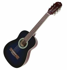 Kids-Classical-Guitar-Blue-acoustic-Pack-half-size-30-inch-Child-Right-Handed