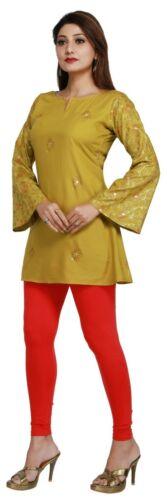 Women Indian Ethnic Short Kurti Tunic Green Cotton Kurta Shirt Dress EASHITA17B